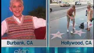 Ellen Monitors Her Walk of Fame Star Sept 12 2012
