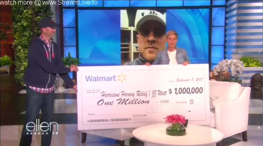 Ellen Surprises Houston Texans Star J.J. Watt With Hurricane Harvey Relief Donation Sept 07 2017